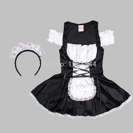 Wholesale French Maid Costume Xxl - Free shipping Sexy French Maid Halloween Lolita Outfit Cosplay Fancy Dress Costume