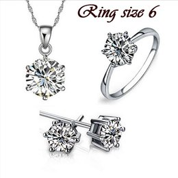 Wholesale Real Garnet - Wedding Fine Jewelry Sets Real Pure Silver Plated 6 Claw Cubic Zircon CZ Pendant Necklaces Earring Rings Engagement Set NO 209331332
