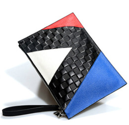 Wholesale Envelope Leather - New Europe and the United States fashion embossed hit color leather bag Envelope package women's hand bag