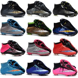Wholesale Soft Red Leather Shoes - Charlin's 2015-2016 Cheap Mens Mercurial Superfly CR7 FG Football Boots Outdoor Soccer Cleats High Ankle Superfly Soccer Shoes More Colors