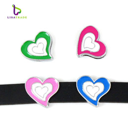 "Wholesale Wristband Slide Letter 8mm - 10PCS! 8MM ""Heart"" Slide Charm DIY accessory Fit 8mm Wristband & Belt  Pet Collar (7 styles can choose) LSSC31-151*10"