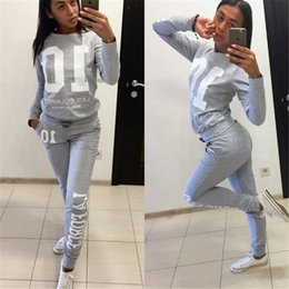 Wholesale Women S Velour Sportswear - Women Sexy Letter Print Tracksuits Two-piece Sets, Tops + Pant Sets Sportswear, Fashion Woman Sport Clothing Long Sleeve Casual Tracksuit
