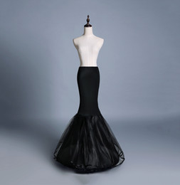 Wholesale Hoop Petticoat Plus Size - Wholesale Mermaid Crinoline Petticoats Plus Size Sexy Black Bridal Hoop Skirt High Quality Ruffle Wedding Accessories