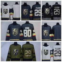 Wholesale icing logos - Vegas Golden Knights #29 Marc-Andre Fleury #80 Wong Black 100th  Army Green Embroidered New Logo Hockey Jerseys 2017-2018 New Season LAS