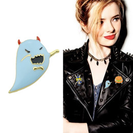 Wholesale Cute Lady Face - Fashion Cute Style Gold-Color Brooches Blue Red Black Color Enamel Ghost Pattern Brooches For Fashion Lady Accessories