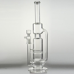 """Wholesale Two Function Honeycomb Glass Percolator - Double Honeycomb Percolator Water Pipes Bongs 14"""" inches Bear Mountain Recycler Oil Rigs Two Functions Ashcatcher Bubbler Pipe Glass Hookah"""