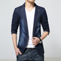 Wholesale Fitted Blazers - New 2018 spring dark color casual denim blazer men fashion slim fit stonewashed and white blazer men's clothing size m-3xl