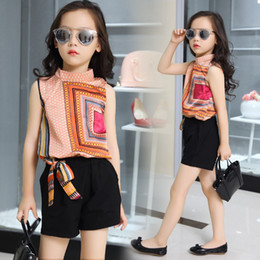 Wholesale Summer Shirts Big Girl - Kids girls sleeveless suit 2017 new summer children's Chiffon casual T-shirt+Shorts Sets big virgin piece shorts girl clothes 3-15 years
