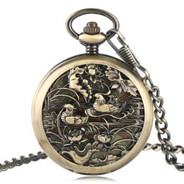 Wholesale Men Watch Automatic Pocket - Carving Lovebird Skeleton Automatic Mechanical Pocket Watch Chain Fashion Women Men Fob Watches Gift Luxury Vintage Clock 2017