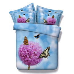 Wholesale Girls Pink Duvet - Pink Blue Floral Butterfly Bedding Sets Twin Full Queen King Size Bedspread Bedclothes Duvet Cover for Children's Girls Adult Bedroom Decor