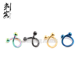 Wholesale Titanium Body Jewelry Free Shipping - Free Shipping 16 Gauge Titanium Anodized 316L Surgical Steel Spiral Twister With Spike Mixed Colors Body Jewelry 30 pcs per lot
