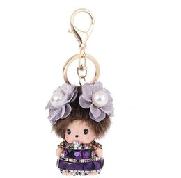 Wholesale Pink Rubber Doll - Cartoon Kawaii Monchhichi MONKIKI Doll with Pearl Flowers Crystal Rhinestone Keychain Car Keyring Handbag Charms Best Gift for Women Kids