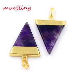 Wholesale Triangle Charms Wholesale - Natural Gem Stone Pendants Jewelry Charms Amethyst Aventurine Opal etc Triangle Pyramid Slice Accessories European Amulet Jewelry