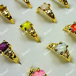 Wholesale Three Stone Wholesale Settings - Fashion New Acrylic Classic Gold Plated Rings For Women Rhinestone Whole Sale Bulk Lots Free Shipping LR023