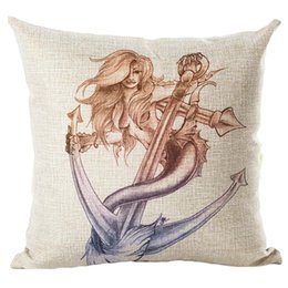 """Wholesale Cushion Covers 18 - 18*18"""" Mermaid Printed Square Cotton Linen Pillow Case Cushion Cover For Sofa Home Car Decor Free Shipping"""