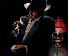 Fumo pintura a óleo on-line-Emoldurado Um Homem Fumador, Genuíno Pintados À Mão Pinturas A Óleo Retrato Masculino pintura A Óleo Sobre Tela, Mulit