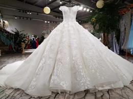 Wholesale Wow Ball - New Luxurious Arabic Lace Crystal Beading Flower Ruffle Wedding Dress Bride Princess WOW Wedding Dresses Bridal Gown Custom Made 2017 New