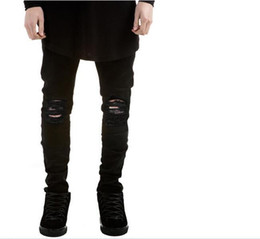 Wholesale Blue Linen Pants - 2018 New Autumn Fashion Hole Jeans Men Long Trousers skinny ripped distressed jeans Denim Pants Plus Size SJ6083
