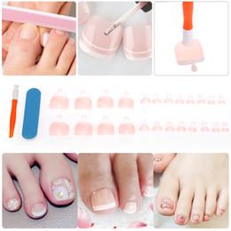 Wholesale French Manicure Pedicure - Wholesale- 24Pcs False French Toe Nails Tips Nail File Suction Cup Set Acrylic Toenail Fake Nail Art Tips Cover Manicure Pedicure Tool
