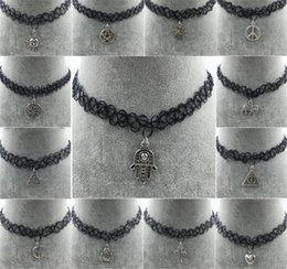 Wholesale Vintage Grunge - Handmade Hot Selling Vintage Stretch Tattoo Choker Necklace Gothic Punk Grunge Henna Elastic Pendant Necklaces A038