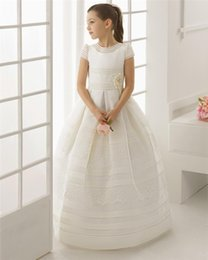 Wholesale T Shirts For Girls Embroidery - 2017 first communion dresses for girls Satin Lace Floor Length Flower Girl Dresses for weddings girls pageant dresses Custom