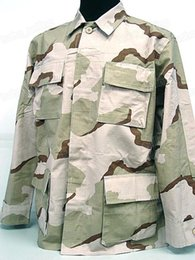 Wholesale Tactical Desert Pant - Wholesale-US ARMY Desert Camo BDU Field Uniform Set War Game Tactical Combat Shirt +Pants Ghillie Suits
