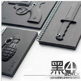 Wholesale Rambo Free - 50 PCS LOT Wholesale Fedex Free Shipping, Creative Black 4 Notebook Valentine Gift, Grenade Rambo Knife Revolver Note Book Paper 0419xx