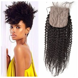 Wholesale Baby Tangle - Afro Kinky Curly Silk Base Closure With Baby Hair 8-22inch No Shedding No Tangle Mongolian Curly Human Hair G-EASY