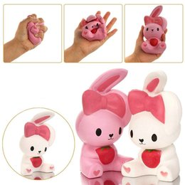 Wholesale White Rabbit Ears - New Cute Ear Rabbit Squishy 15CM Jumbo Slow Rising Cute Phone Straps Colossal Fun Rabbit Kid Toy Squeeze Soft Relieve Charm Anxiet Gift