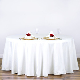 Wholesale Tablecloth Round Plain White - Free Shipping 10PC Pack 60 inch Round Wedding Table Cloth 100% Polyester Seamless White Premium Tablecloths Home Table Cloth For Wedding
