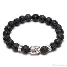 Wholesale Bracelet Anti Fatigue - Men's Women's Diffuser Jewelry Anti-fatigue Silver Buddha Lava Natural Stone Charms Bracelets Volcanic Rock Prayer Beads Bracelet