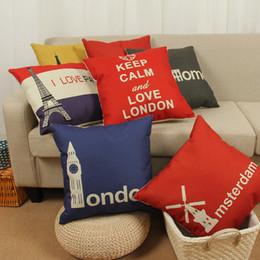 Wholesale London Decorative Pillow - LOVE LONDON cotton linen pillowcase for wedding office couch supplies Vintage pillow case cover home decorative 240619