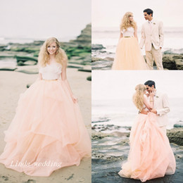 Wholesale Long Fairy Tulle Skirt - Fairy Tale Peach Gold And White Wedding Dresses Beautiful A Line Long Tulle Women Bridal Party Gowns