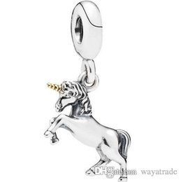 Wholesale Bead Pendant Silver - 20 New! Unicorn Pendant Charm 925Sterling Silver European Charms Beads Compatible With Snake Chain Bracelets DIY Jewelry New20
