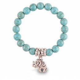 Wholesale Invisible Elephant - New fashion Tibet silver Elephant Special Charm Beaded Turquoise Bracelet Women Round Beads Stretch Bangle Bracelet Jewelry Wristbands