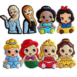 Wholesale White Safety Pins - PrettyBaby cartoon elsa anna snow white mermaid Princess Badge Christmas brooch PVC brooches safety pin Party DIY Gifts free shipping