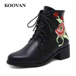 Wholesale European Fashion Lace Up Boots - Women Shoes Embroider European Ankle Boots Autumn Boots Koovan Fashion Martin Boots 2017 New Chunky 4 Cm Heel Waterproof Platform W292