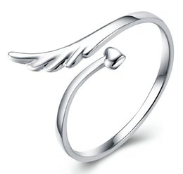Wholesale Vintage Wing Ring - 925 Sterling Silver plated Silver plated angel wings opening ring Fashion female models cute vintage jewelry manufacturers wholesale jewelry