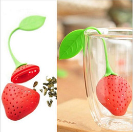 Wholesale Punching Punch - BornIsKing 1Pc lovely Reuseable Foof safe Silicone Red Strawberry Shape Tea Leaf Bag Holder Tea Coffee Punch Filter Tea Infuser c165