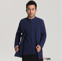 Wholesale Traditional Chinese Clothes Red - Wholesale-2016 New blue Chinese Men's traditional cotton linen clothing long sleeves dress shirt Sz: S M L XL