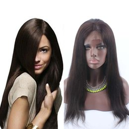 Wholesale Real Hairstyles - Sale Price #2 Dark Brown Indian Yaki Lace Front Wigs Full Lace Wig With Baby Hair 130% Density Real Indian Hair Wigs