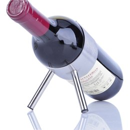 Wholesale Red Rack Wine - Red Wine Rack Stainless Steel Frame Creative Metal Wines Bottle Holder Fashion Bar Tool Modern Household Decor 13gc F R