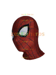 Wholesale Spiderman Adult - Halloween Spiderman mask Cosplay Costume 3D print Lycra Spandex Mask Red   Red Adult sizes Party supplies