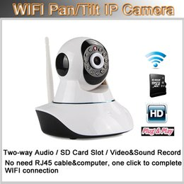 Wholesale Wifi Ip Web Camera - HD 720P Wireless IP Camera Wifi Night Vision Camera WIFI Web Cam P2P Onvif Pan Tilt Two Way Audio Micro SD Slot