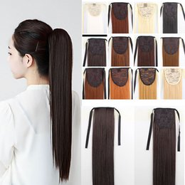 "Wholesale synthetic hair piece ponytail - 24"" Long Ponytail Clip In Pony Tail Hair Extension Extensions Wrap on Hair Piece Straight Style 100% Top Quality Free Shipping W679"