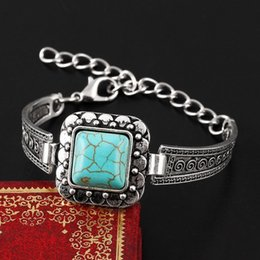 Wholesale China Link Wholesale - wholesale free shipping Turquoise bracelets fashion jewelry big green turquoise charm bracelets retro bracelet silver plated bangle TB0017