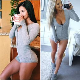 Wholesale Full Bodysuit Black - 6 Colors Fall Womens Sexy Slim Short Cotton Knitted Bodycon Bandage Jumpsuit romper Bodysuit with Long Sleeve and V-Neck One-Piece