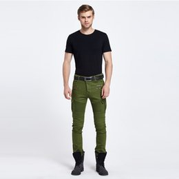 Wholesale Designer Mens Cargo Pants - Biker Jeans Punk Style Cargo Pocket male Jeans Skinny Men trousers Brand Mens Designer Clothes Zipper Denim Pants Army Green black