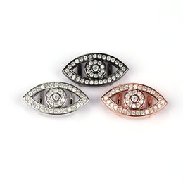Wholesale Connectors Beads Evil Eye - Zircon Evil Eye Connector Charms Spacer Beads fit Diy Bracelets Handemade Jewelry Making Findings 10pcs lot BMW00532
