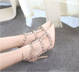 Wholesale Christmas Party Dress Designs - Brand Design Women High Heels Sexy Bride Pointed Toe High Heels Shoes Nude Women's Pumps Rivets Wedding Party Shoes